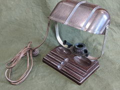 Vintage 1940s Bakelite Desk Lamp and Inkwell Working Condition