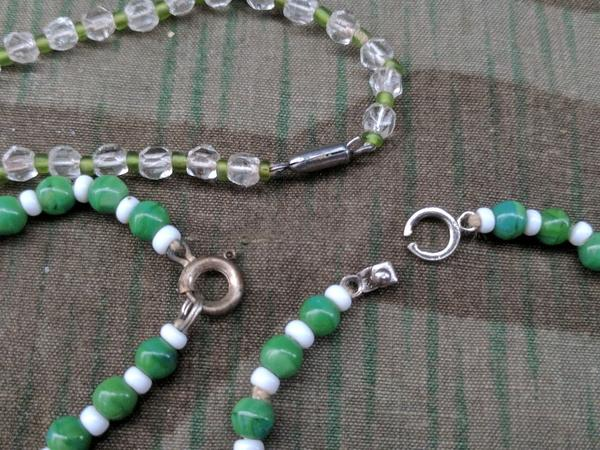 German Green Glass Bead Necklaces