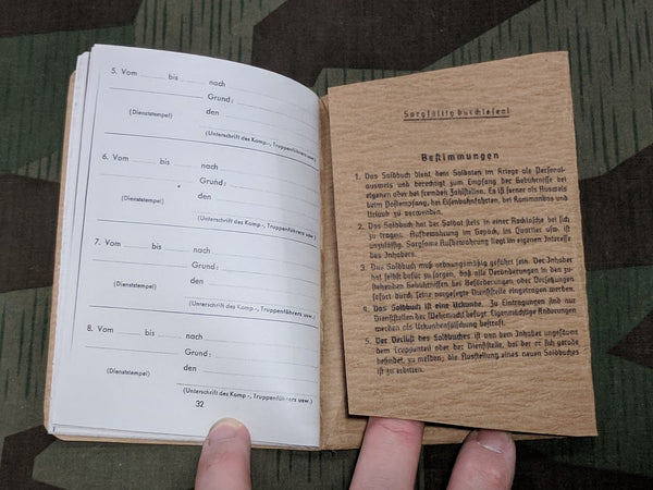 SS Soldbuch Reproduction (Printing Errors)