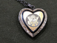 US Army Sweetheart Locket Necklace- Sterling