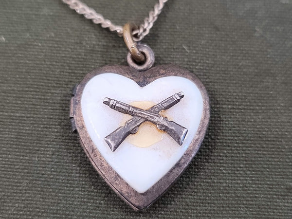 Crossed Rifle Infantry Sweetheart Locket Necklace