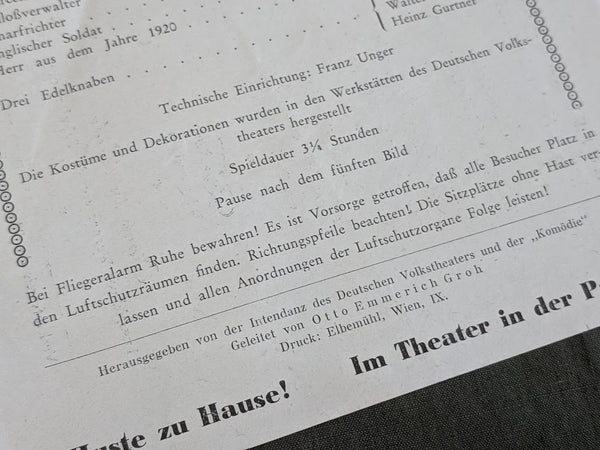 Deutsches Volkstheater Playbill