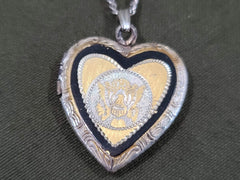 Army Eagle Sweetheart Etched Locket Sterling