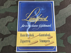 WWII German Landfried Tobacco Advertisement Sign