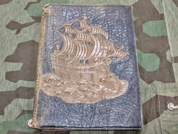 Leather Desk Blotter with Embossed Ship