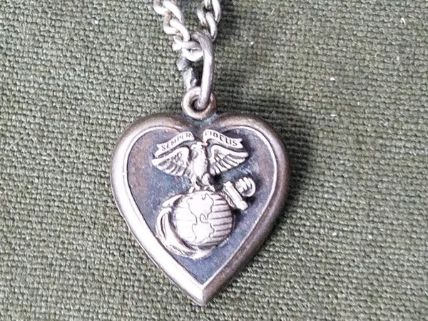 "US Marine Heart Sweetheart Necklace Sterling ""Tom"""
