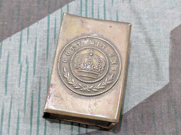 Gott Mit Uns WWI German Belt Buckle Match Safe