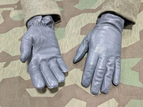 Gray Post-WWII German Leather Gloves Size 9