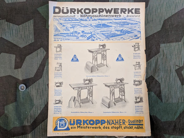 Vintage German Dürkoppwerke Sewing Machine Advertisement