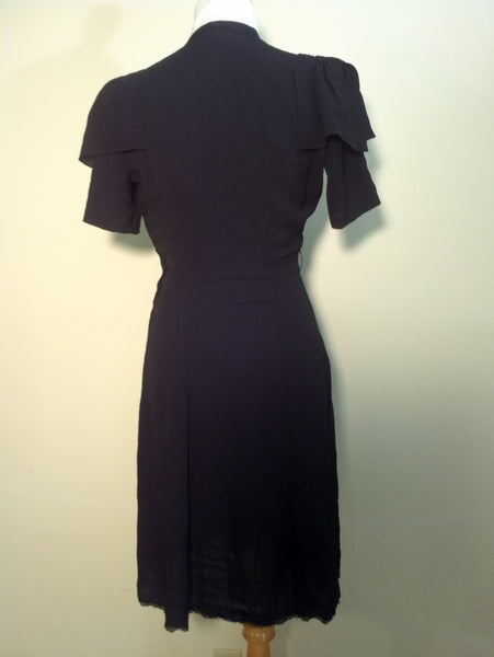 "Black Crepe Rayon Dress w/ Accented Sleeves <br> (B-38 1/2"" W-27"" H-38"")"