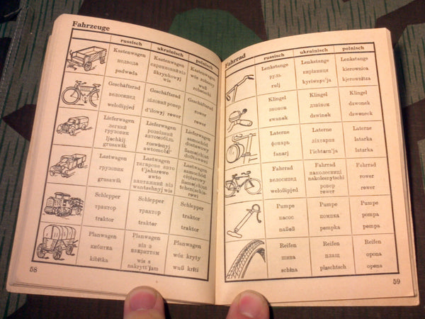 Original German-Russian-Polish-Ukrainian Dictionary w/ Pictures
