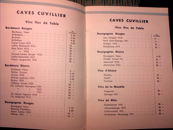 1933 French Wine Menu Caves Cuvillier Champs-Elysees Paris