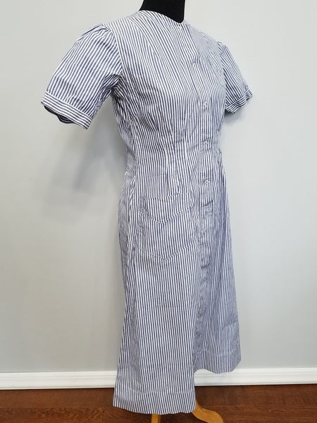 "Striped Nurse Uniform Dress <br> (B-37"" W-30.5"" H-38"")"
