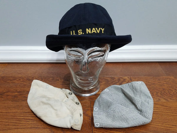 Navy WAVES Service Hat Seersucker, Blue & White Covers (Size 23)