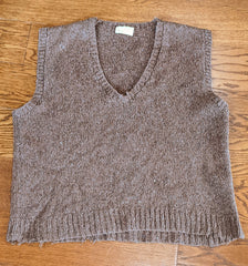 Hand Made Brown Knit Sweater Vest (Large Size)