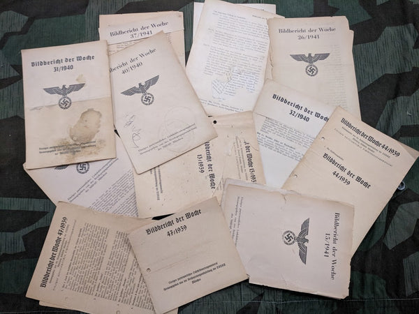 Lot of 10 AS-IS WWII German Bildbericht der Woche NSDAP Pamphlets