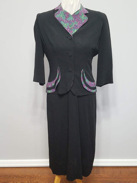 "Green and Purple Butterfly Dot Print Dress and Jacket <br> (B-40"" W-30"" H-37"")"