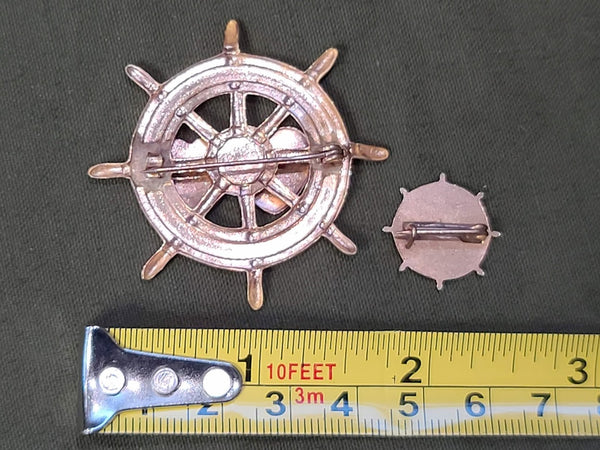 Engravable Heart Ships Wheel Pins (Set of 2)