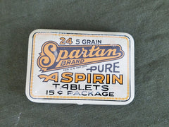 New Old Stock Vintage 1930s Spartan Aspirin Tin USA