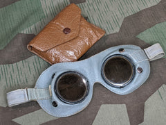 WWII German Tinted Leather Goggles Ultrasin