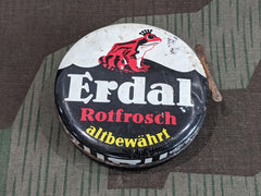 Original WWII German Erdal Red Frog Black Shoe Polish Tin
