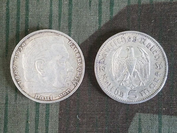 Original Pre-WWII German Silver 5 Reichsmark Coins (1935 & 1936 Dated)