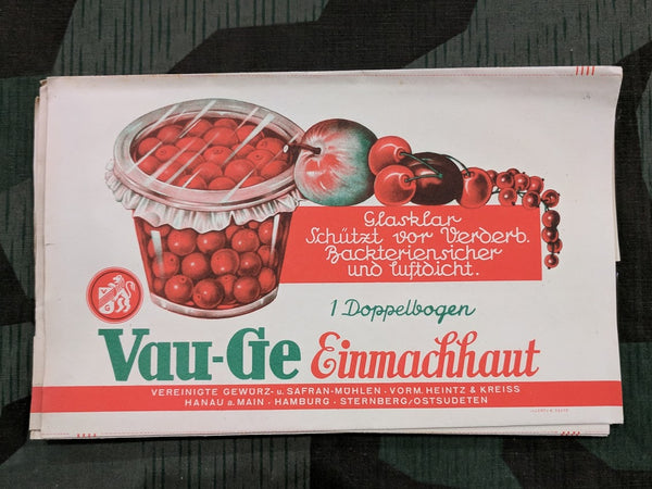 Original 1930s / 1940s WWII German Vau-Ge Cellophane for Canning