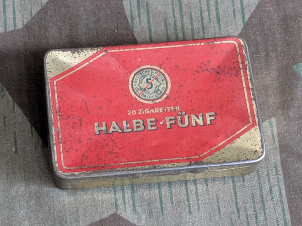 Original WWII-era German Halbe-Fünf 20 Cigarette Tin