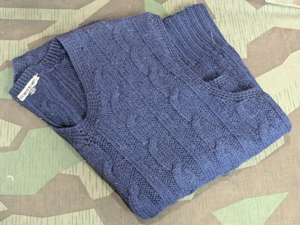 Original WWII-era German Wiener Modell Blue Sweater Vest (Eur Size 48)