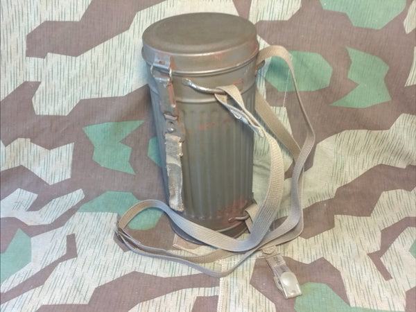 Original WWII German 1944 Gas Mask Can w/ Repro Strap