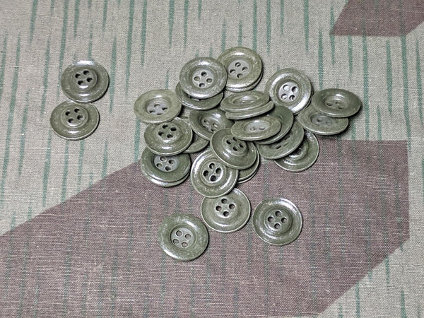 Original WWII German Feldgrau Shirt Buttons Dished Metal 14mm 4 Hole