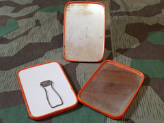 Original WWII German Personal Mirror w Orange Trim