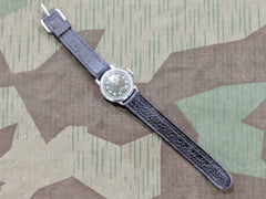 Original WWII German Thiel Wristwatch Black Face Second Dial