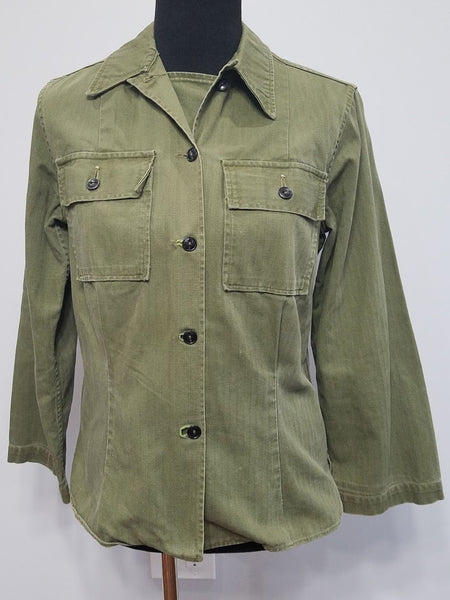 Original WWII Women's HBT Uniform Shirt (Size M) WAC, Nurse, ANC