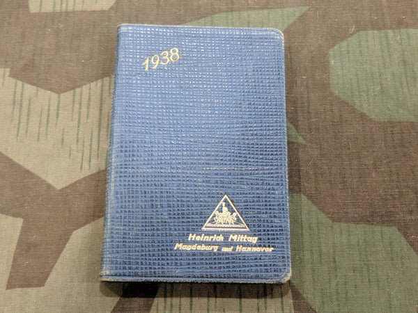 Pre-WWII German 1938 Calendar / Day Planner with Feldpost Nr.