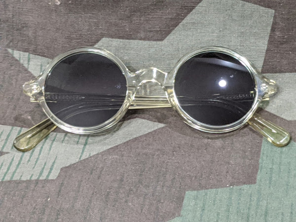 Repro WWII German Clear Acetate Round MG Blendschutzbrille Sunglasses