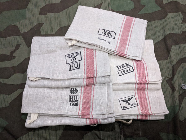 Reproduction WWII German Linen Hand Towels w/ Markings