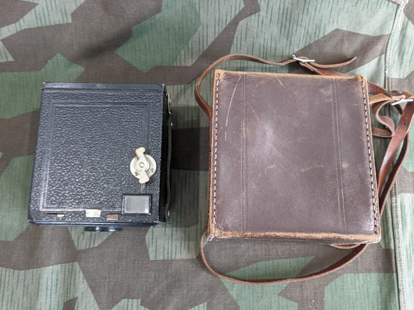 Unmarked Box Camera in Leather Case