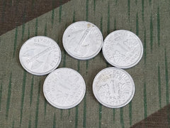 Set of 5 WWII French Franc Coins