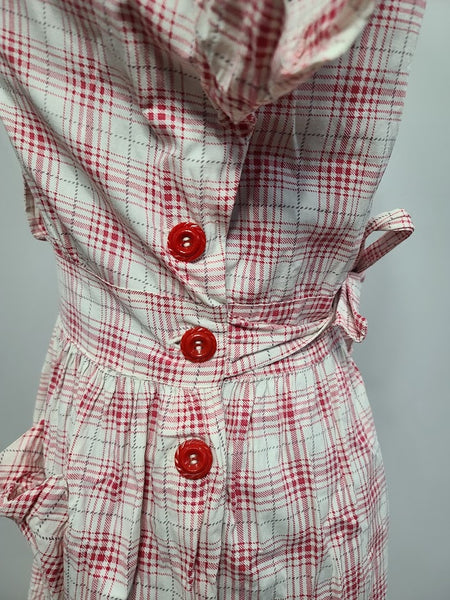 "Red and White Button Dress <br> (B-40"" W-29"" H-45"")"