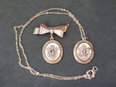 Vintage WWII US Army Sweetheart Necklace and Pin Set