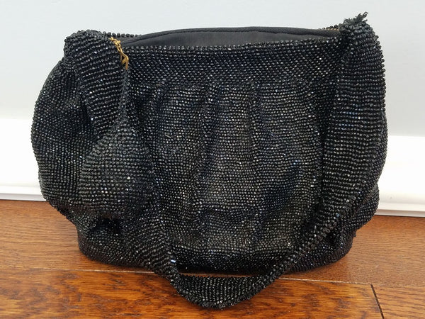 "Vintage 1930s 1940s Black Beaded Handbag Purse ""Yarn Corp. of America Mary Lamb Lining"""