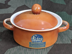 Vintage 1930s German Orange Rosag Ceramic Cook Pot Kitchenware