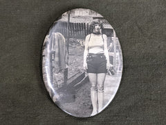 Vintage 1930s Large Brooch Pin with Woman's Picture