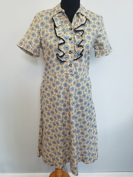 Vintage 1940s Abstract Print Dress with Ruffles and Rhinestones