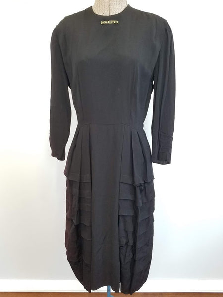 Vintage 1940s Black Rayon Tiered Peplum Dress with Brooch (Fading)