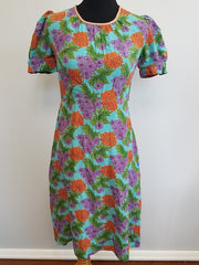 Vintage 1940s Colorful Flower Print Silk Dress - Very Good Condition