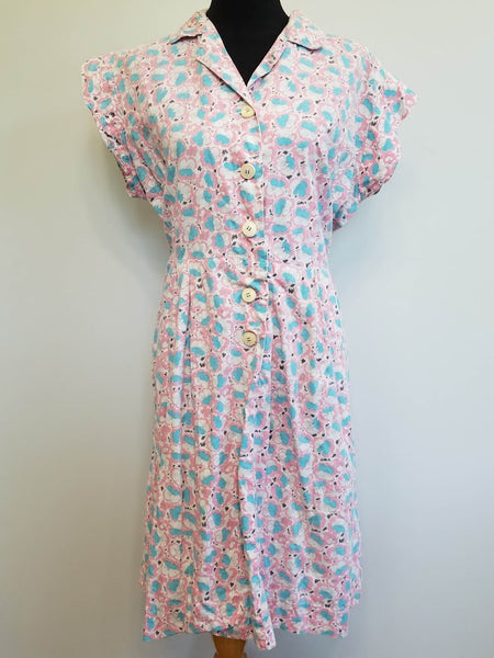 Vintage 1940s Pink Blue White Flower Print Dress Plus Size