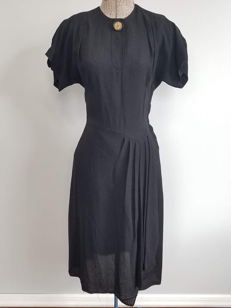 Vintage 1940s WWII Black Rayon Dress with Army Eagle Sweetheart Button