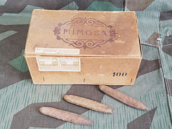 Vintage 1940s WWII German Mimosa Cigar Box with Cigars